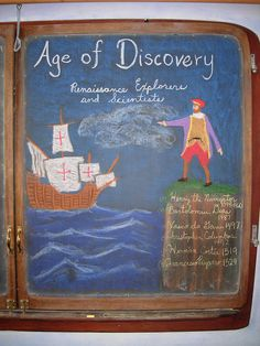 Waldorf ~ 7th grade ~ Age of Exploration and Discovery ~ chalkboard drawing