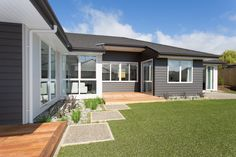 With Linea Weatherboard your home can have all the distinctive features and charm of weatherboard, low maintenance, premium fibre cement. Traditional Home Exteriors, Traditional House, Modern Industrial, Mid-century Modern, Cladding, House Colors, Home And Family, New Homes, Mid Century