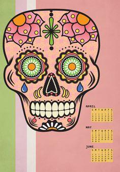 Spring 2011 Sugar Skull Calendar    anchoreddesigns.com
