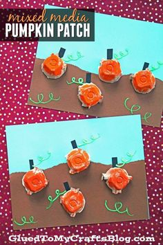october crafts for kids We are upcycling everyday materials into this Egg Carton Pumpkin Patch craft idea! It's a mixed media tutorial that I hope inspires you! Kindergarten Crafts, Daycare Crafts, Toddler Crafts, Preschool Crafts, Thanksgiving Crafts, Holiday Crafts, Pumpkin Patch Kids, October Crafts, Egg Carton Crafts