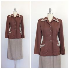 40s Brown Gingham Suit / 1940s Vintage Jacket & Skirt Checkered Set / Small / Size 4