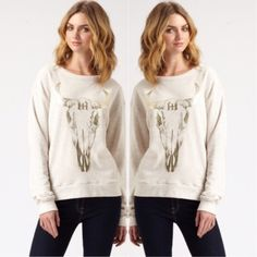   Haute Hippie   Longhorn Shirt Longsleeve longhorn shirt by Haute Hippie. The metallic detail on this is just simply amazing, shirt is in great condition. Haute Hippie Tops