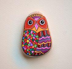 Hand Painted Stone Owl от ISassiDellAdriatico на Etsy