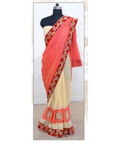 New Arrival Coral and Cream Designer Saree By Kmozi..  http://www.kmozi.com/designer-embroidery-sarees/new-arrival-coral-and-cream-designer-saree-by-kmozi-761