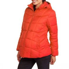 Faded Glory Maternity Hooded Puffer Coat, Size: Medium, Red