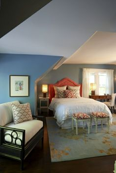 I would want just slightly lighter walls, but I love the use of color in this bedroom. // Meredith Heron Design
