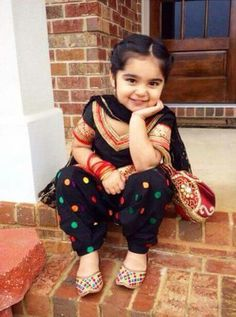 Cute little girl in beatiful black suit get you princess suits designed Cute Little Baby, Little Babies, Cute Babies, Little Girl Fashion, Kids Fashion, Kids Salwar Suit, Punjabi Girls, Punjabi Suits, Kids Indian Wear