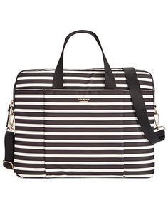 From laptop to lipstick, kate spade new york's around-town bag organizes it all in slim striped nylon with comfortable double handles and a wide shoulder strap that won't dig in as you're dashing off
