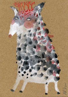Deer Style Tree Head, Gouache on Acid-Free Kraft, by Emma Kidd