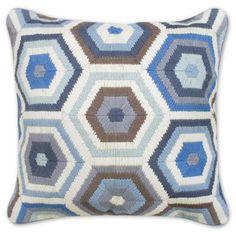 blue and grey bargello honeycomb pillow - Jonathan Adler - $165.00
