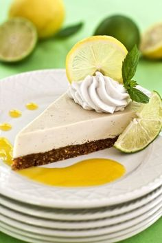 Raw Lemon-Lime Cheesecake with Fresh Mango Sauce (vegan and gluten-free) – Easter Menu and Tips, Part One – Plant-Powered Kitchen Desserts Crus, Raw Vegan Desserts, Vegan Dessert Recipes, Vegan Treats, Gluten Free Desserts, Raw Food Recipes, Vegan Raw, Lemon And Lime Cheesecake, Raw Cheesecake