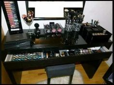 Ikea Malm Vanity Makeup Table – Organization – Storage - make up room studio My New Room, My Room, Spare Room, Ikea Malm Series, Ikea Malm Desk, Makeup Dresser, Ikea Makeup, Makeup Desk, Makeup Vanities