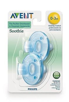 *NEW* PHILLIPS AVENT SOOTHIE PACIFIER 2 COUNT BLUE 0-3 MONTHS FREE SHIPPING