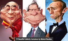 25 Beautiful Celebrity Caricatures by Indian Artist Mahesh Nambiar. Read full article: http://webneel.com/32-best-and-funny-celebrity-caricatures-your-inspiration | more http://webneel.com/caricature | Follow us www.pinterest.com/webneel