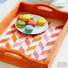 Bring a pop of color to an unfinished wood tray with a trendy herringbone pattern.