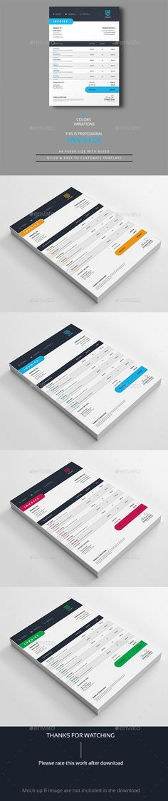 Invoice Template Template, Font logo and Fonts - invoice design template