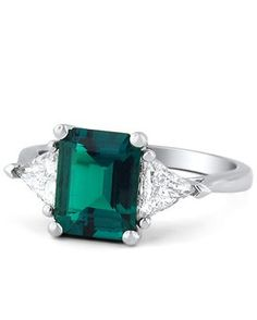 Emerald & Trillion Cut Diamond Ring