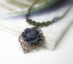 Purple Victorian Style Pendant Necklace, Trinity Brass, Art Nouveau, Tanzanite Swarovski, Romantic, Womens Accessories, Plum