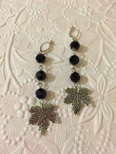 10/18/15 Earring Challenge Sunday. Black onyx dangle earrings with B'sue Silverware Maple Leaf.  Heart's Dezire by Irene
