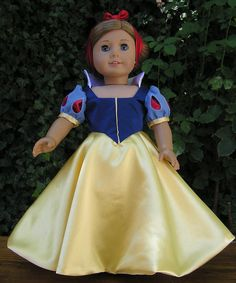 Original Design Princess Snow White Satin Doll Dress and Headband for American Girl or 18 inch Doll