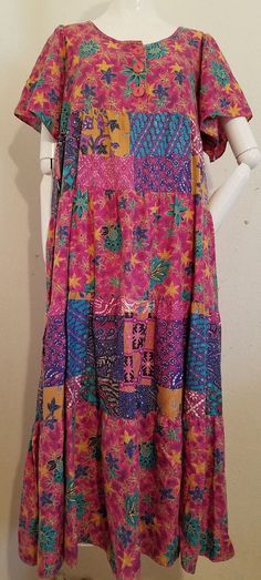 S Sea Wind Multi-Color Floral Country Patchwork Modest Boho Hippie Vtg Dress #SeaWind #Casual #CasualSummer