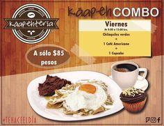 Feliz #viernes!  Estos chilaquiles están preparados especialmente para ti para comenzar el día al 1000%.  Te esperamos!  Servicio a domicilio al (983) 162 1240.  #Promociones #KáapehCOMBO #Desayunos #Káapehtear #Káapehtería #TeHaceElDía #ConsumeLocal #Cafetería #Café #Alimentos #Postres #Pasteles #Panes #Cancún #Chetumal #México