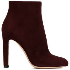 Gianvito Rossi Dana Ankle Boots (16 740 UAH) ❤ liked on Polyvore featuring shoes, boots, ankle booties, heels, red, high heel ankle boots, suede booties, suede ankle boots, red ankle boots and suede bootie