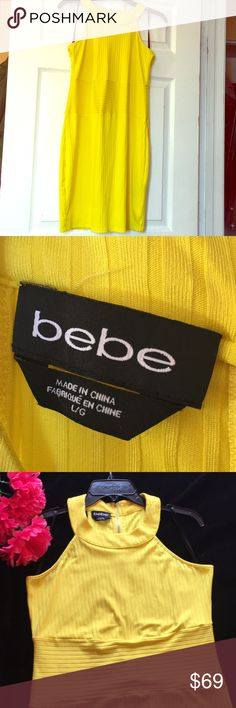 ✨Bebe stretching sexy yellow dress(L) ~ BRAND NEW « I am in love with this dress » 34 inches long - Bust 17 inches - waist 16 inches BRAND : Bebe 🌈  But it has to go ❗️ BRAND NEW with no tags   size LARGE - It stretches very well  NO STAINS or any DAMAGE 😍 bebe Dresses Maxi