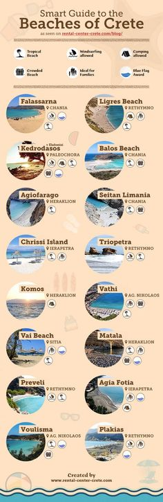 Smart Guide to the Beaches of #Crete  ▶ http://www.rental-center-crete.com/blog/smart-guide-beaches-crete/