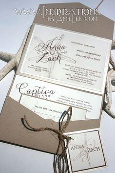 Rustic Beach Wedding Invitations by InspirationsbyAmieLe on Etsy
