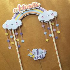 Olha só o topo de bolo mais fofo que vai pro aniversário da Antonella lá em Niquelândia. . . . #chuvadeamor #chuvadeamorparty… Rainbow Parties, Rainbow Birthday Party, Unicorn Birthday Parties, Unicorn Party, Birthday Tags, Birthday Favors, Birthday Party Decorations, Diy Cake Topper, Cupcake Toppers