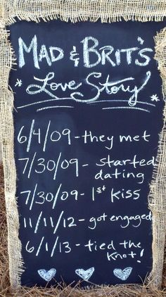 Chalkboard wedding sign: our love story. Wedding at Lenora's Legacy in SC. http://www.lenoraslegacy.com/