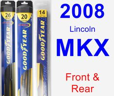 Front & Rear Wiper Blade Pack for 2008 Lincoln MKX - Hybrid