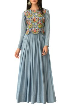 Buy Embroidered scallop bodice anarkali kurta by Rishi and Soujit at Aza Fashions