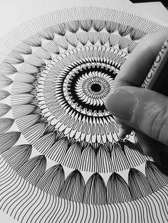 One line at a time by Work the Angle #mandala #process #sacredgeometry #blackink #ink #meditation