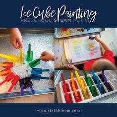 Easy Science Experiment - Ice Cube Painting - Sixth Bloom Easy Preschool Crafts, Preschool Science, Preschool Learning, Steam Activities, Toddler Activities, Stem Projects, Projects For Kids, Ice Cube Painting, Science For Toddlers