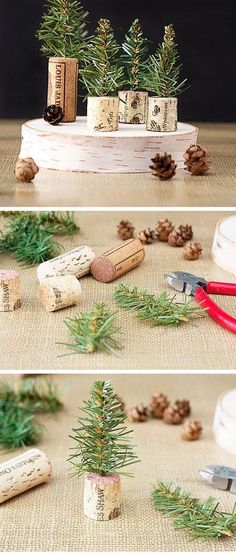 Wine cork mini trees