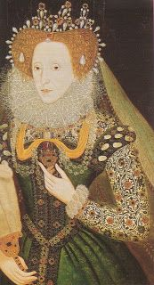 A portrait of Queen Elizabeth in a green dress, c.1585. The Elizabethan Club of Yale.