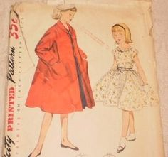 Girls Sewing Patterns 1950s Easter Dress Vintage Simplicity Matching Duster 4586 size 10 Mid Century Christmas Church Outfit Coat. $6.00, via Etsy.