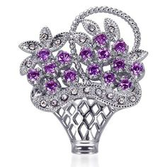 Bask in the Spirit of Spring: Sterling Silver Rhodium Finish Vintage Floral Basket Brooch with Lavender CZ and White Crystals Peora. $29.99