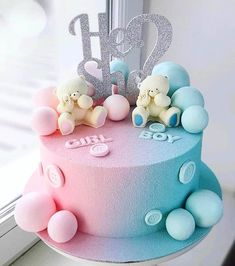 Baby Shower Cake Designs, Baby Shower Cakes Neutral, Baby Reveal Cakes, Baby Gender Reveal Party, Gender Party, Twin Birthday Cakes, Birthday Cake With Flowers, Gateau Baby Shower, Gender Reveal Decorations