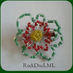 Spring Flower Wire Crochet Hair Pin by RockDocLML on Etsy