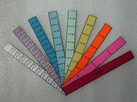 Fraction bars--Great manipulative to reinforce fractions--Printable fraction bars sheet to use to make this.  http://mscraftynyla.blogspot.com/2011/08/free-fraction-strips-template.html