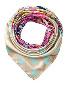 corciova Women's Satin Square Silk Feeling Hair Scarf 35 x 35 inches New Style Almond and Deep Sky Blue $9.99 Free Shipping @Amazon.com