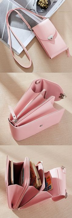 Women 6 Card Slots PU Leather Phone Bag/ Crossbody Bag