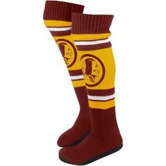 Washington Redskins Ladies Knit Knee Slipper Socks - Gold/Burgundy