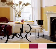 color palettes with yellow accents | yellow green tones, included in monochromatic interior color schemes ...