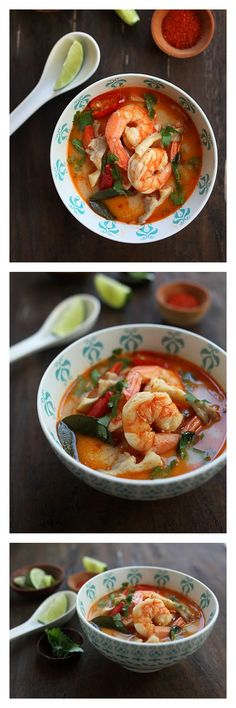 Thai Tom Yum Shrimp Soup: hot, sour, savory and addictive. Seafood Recipes, Soup Recipes, Cooking Recipes, Seafood Pho Recipe, Prawn Soup, Asia Food, Tom Yum Soup, Asian Recipes, Healthy Recipes