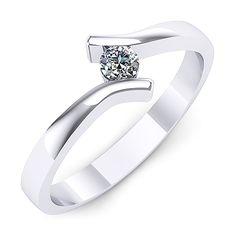 Inel logodna F43ADI INEL DE LOGODNA REALIZAT DIN AUR ALB 14K CU UN DIAMANT * Piatra principala: diamant 1buc x ~2.80mm - greutate: ~0.08ct Aur, Engagement Rings, Jewelry, Engagement, Enagement Rings, Wedding Rings, Jewlery, Jewerly, Schmuck