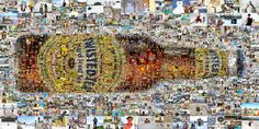 A multi-size cell mosaic mural designed using 1,000 Twisted Tea fan photos. www.picturemosaics.com